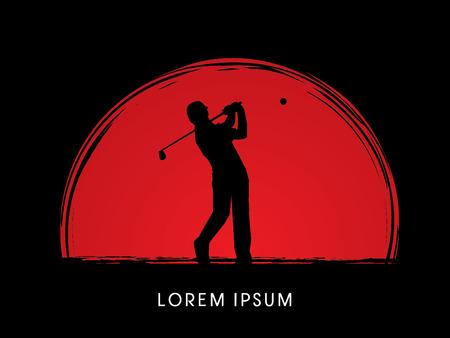 Man swinging golf, Golf players, Club, on sunrise background, graphic vector