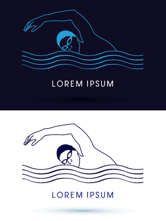 swimming pool water: Outline Swimming pool, club, sign, graphic, icon, vector Illustration