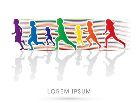 niño corriendo: Silueta, niños corriendo, Diseñado usando la línea de colores