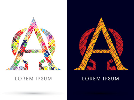 Alpha and Omega, Font, designed using Jigsaw puzzle pattern 일러스트