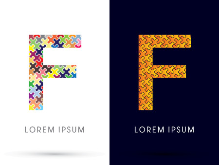 F, Font, designed using Jigsaw puzzle pattern