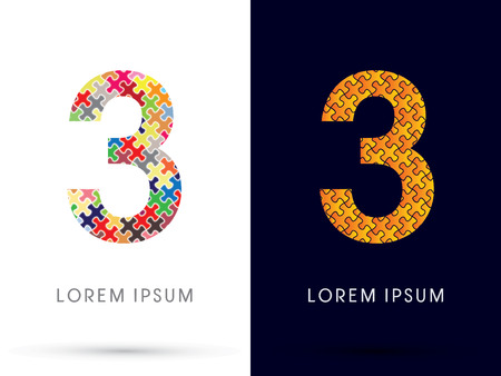 third birthday: 3, Font, designed using Jigsaw puzzle pattern, graphic vector.
