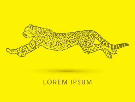 acinonyx jubatus: Cheetah running, side view, designed using line movement, graphic vector.