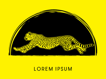 acinonyx jubatus: Cheetah running, side view, on gunge cycle background, graphic vector. Illustration