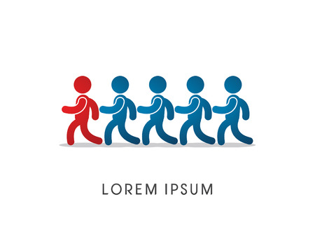follow the leader: Volg, leider, werken, teamwork, pictogram grafische vector. Stock Illustratie