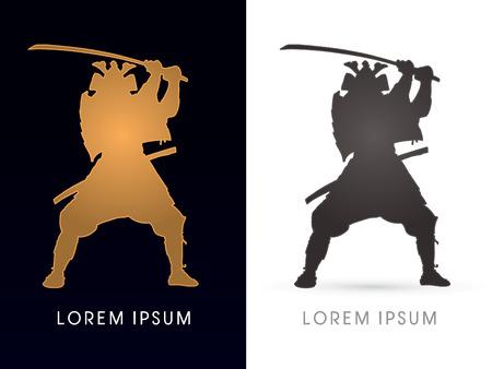 guerrero samurai: Silueta de oro y negro, Samurai Guerrero con la espada, gr�fico de vector.