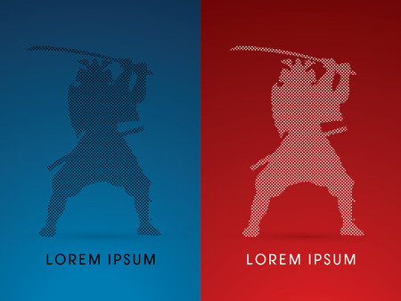 guerrero samurai: Silhouette, Samurai Warrior with sword, designed using square dot, graphic vector.