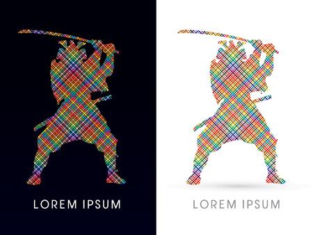 guerrero samurai: Silueta, Samurai Guerrero con la espada, dise�ado usando la l�nea de colorido, gr�fico vectorial.