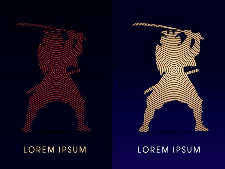 samurai warrior: Silhouette, Samurai Warrior with sword, designed using circle line, graphic vector.
