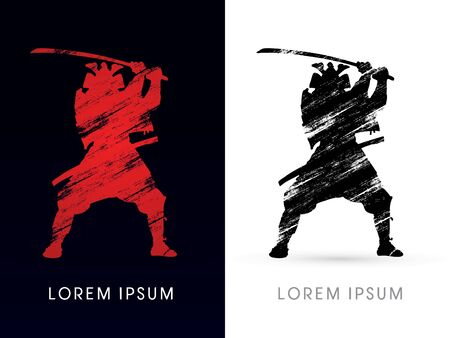 fight: Silhouette, Samurai Warrior with sword, graphic vector.