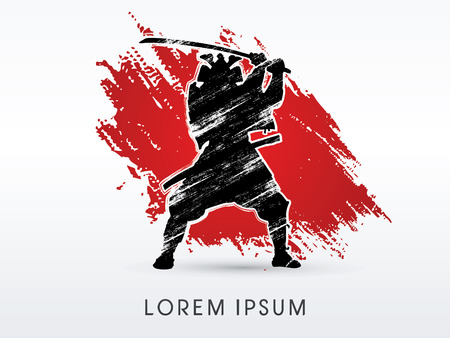 Silhouette, Samurai Warrior with sword, on red grunge background, graphic vector. Illustration