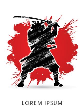 Silhouette, Samurai Warrior with sword, on red grunge splash background, graphic vector.