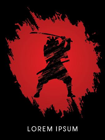 guerrero samurai: Silueta, Samurai Guerrero con la espada, en el fondo rojo del grunge, gr�fico de vector.