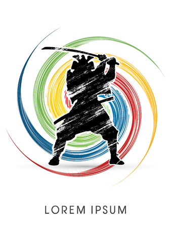 Silhouette, Samurai Warrior with sword, on spin grunge background, graphic vector.