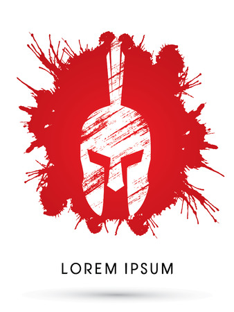 army face: Roman or Greek Helmet, Spartan Helmet, Head protection on splash blood background