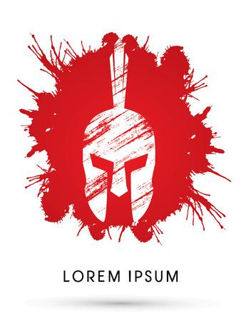 Roman or Greek Helmet, Spartan Helmet, Head protection on splash blood background
