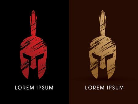 Roman of Griekse helm, Spartan helm, icon Hoofd bescherming Stock Illustratie