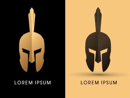 Luxe Roman of Griekse helm, Spartan Helmet Head bescherming Stock Illustratie