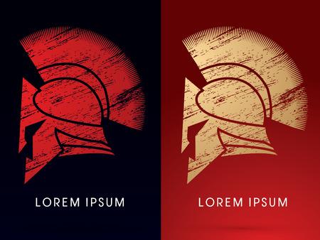 casco rojo: Lujo romano o griego Casco, Casco espartano diseñados usando cepillo del grunge