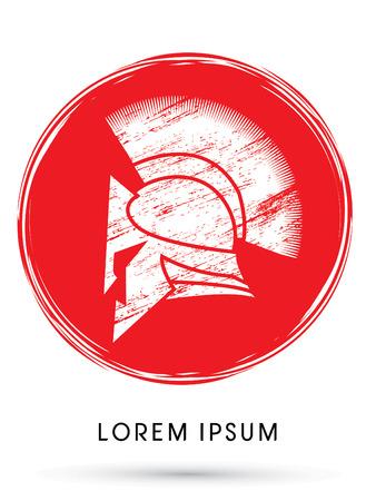 Roman oder griechischen Helm, Spartan Helm, die Grunge-Pinsel auf rotem Kreis Hintergrund verwenden, Symbol, Grafik, Vektor. Standard-Bild - 44128931