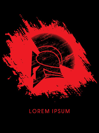 Roman or Greek Helmet, Spartan Helmet, designed using grunge brush on splash blood background