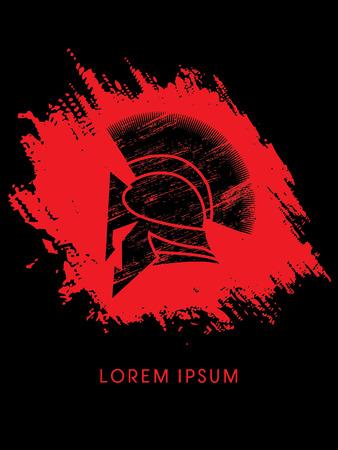 Roman or Greek Helmet, Spartan Helmet, designed using grunge brush on splash blood background