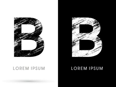 destroy: B ,Font grunge destroy, graphic vector.