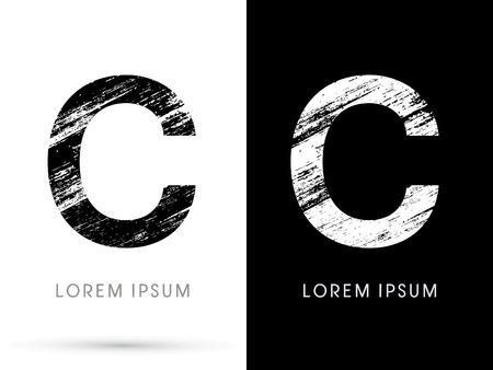 letter c: C ,Font grunge destroy, graphic vector.