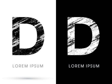 d: D ,Font grunge destroy, graphic vector.