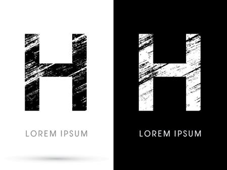 destroy: H ,Font grunge destroy graphic Illustration