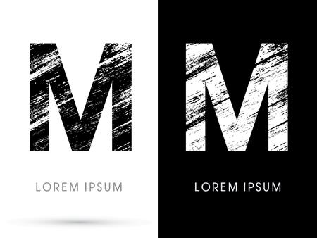 destroy: M ,Font grunge destroy, graphic vector.