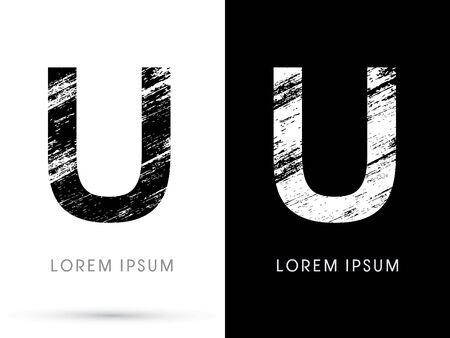 U ,Font grunge destroy, graphic vector. Ilustração