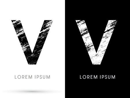 destroy: V ,Font grunge destroy graphic