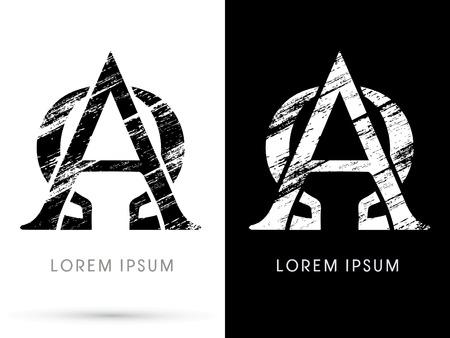 alpha: Alpha and omega ,Font grunge destroy, graphic vector.
