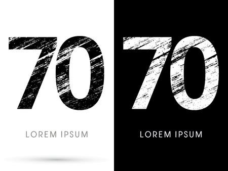destroy: 70 ,Font grunge destroy, graphic vector. Illustration