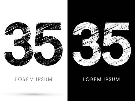 35: 35 ,Font grunge destroy, graphic vector.