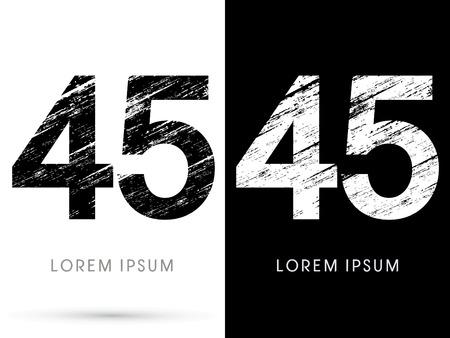 45: 45 ,Font grunge destroy, graphic vector. Illustration