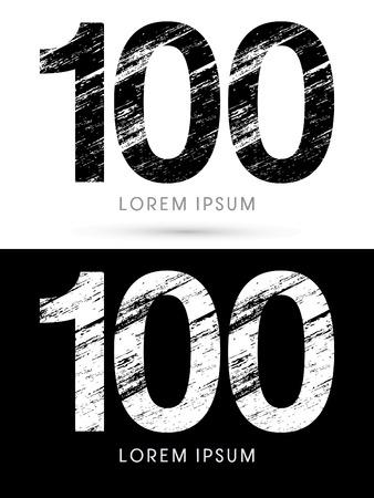 destroy: 100 ,Font grunge destroy, graphic vector.