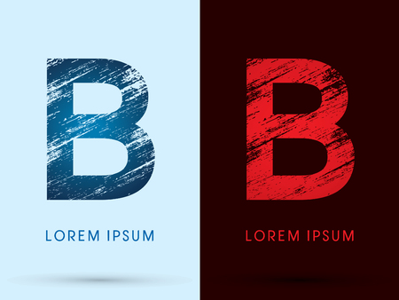 fire letter: B ,Font Cool and Hot, Ice and Fire grunge destroy graphic