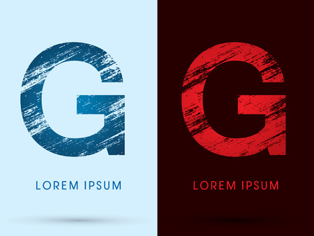 fire font: G ,Font Cool and Hot, Ice and Fire, grunge destroy, graphic vector.