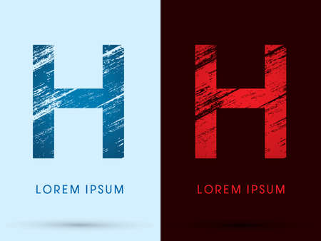 h: H ,Font Cool and Hot, Ice and Fire grunge destroy graphic