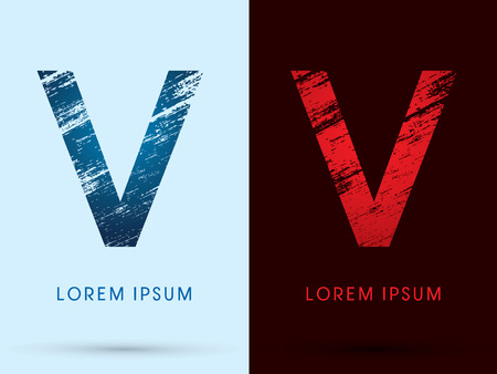 fire font: V ,Font Cool and Hot, Ice and Fire, grunge destroy, graphic vector.