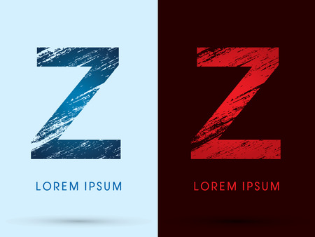 letter z: Z, Font Cool and Hot, Ice and Fire grunge destroy graphic