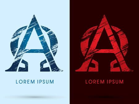alpha: Alpha and Omega, Font Cool and Hot, Ice and Fire grunge destroy graphic