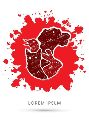 cruelty: Stop Animal Cruelty, on grunge splash blood graphic Illustration
