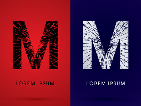 destroy: M ,Font , destroy, broken mirror,  broken glass, graphic vector. Illustration