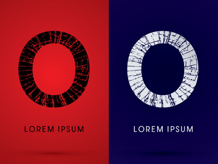 destroy: O ,Font , destroy, broken mirror,  broken glass, graphic vector.