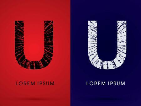 destroy: U ,Font , destroy, broken mirror,  broken glass, graphic vector. Illustration