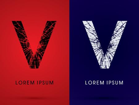 v shape: V ,Font , destroy, broken mirror,  broken glass, graphic vector.