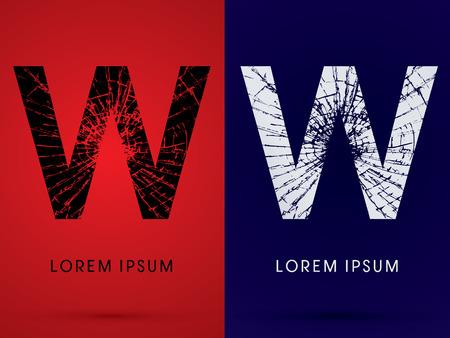destroy: W ,Font , destroy, broken mirror,  broken glass, graphic vector.